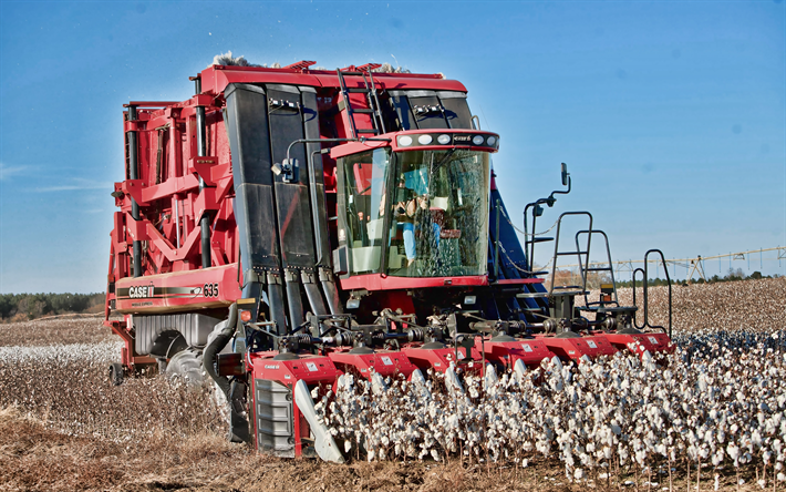 Case IH Module Express 635, 4k, cotton harvesting, 2019 combraines, agricultural machinery, Cotton Harvesters, HDR, harvest, combraine in the field, agriculture, Case