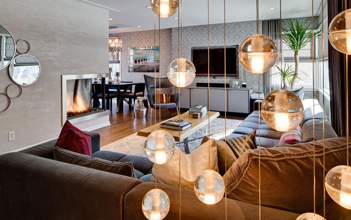 Scarica sfondi elegante salone interno giro bellissimo lampade da