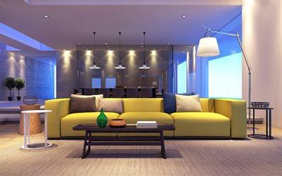 Living Room, Stylish Interior Design, Large Yellow Sofa, Modern Interior  Design, Project