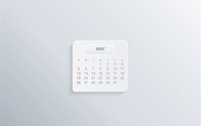 2019 May Calendar, gray background, minimalism, note, 2019 calendars, May, spring, white paper background