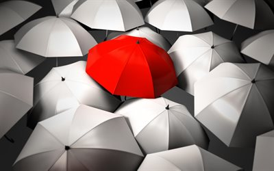 Be different, umbrellas, creative, individuality concept, Be different concepts