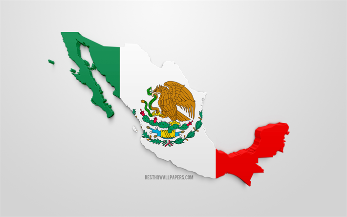 Download wallpapers 3d flag of Mexico, silhouette map of Mexico, 3d ...