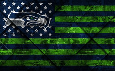 Seattle Seahawks, 4k, American football club, grunge art, grunge texture, American flag, NFL, Seattle, Washington, USA, National Football League, USA flag, American football