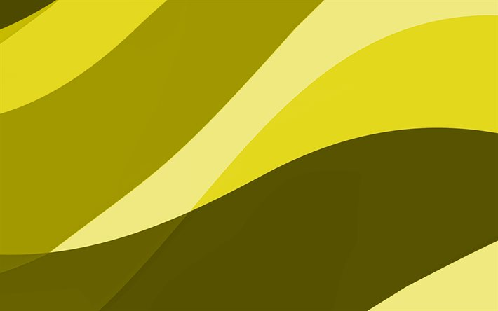 yellow abstract waves, 4k, minimal, yellow wavy background, material design, abstract waves, yellow backgrounds, creative, waves patterns