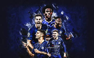 Le Chelsea FC, club de football anglais, en pierre bleue, fond, football, Premier League, Angleterre, Willian, Tammy Abraham, Christian Pulisic