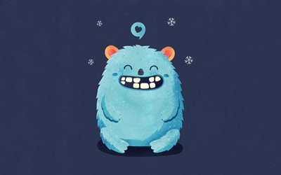 snow man, 4k, smiling monster, minimal, funny characters, snow monster, creative, monsters
