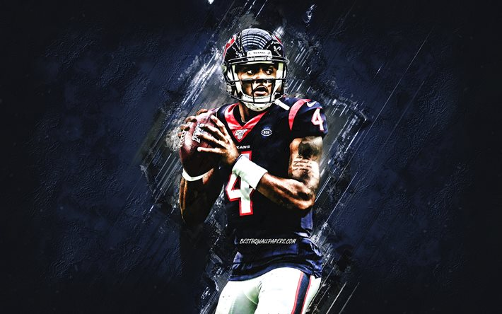 Download Wallpapers Deshaun Watson Nfl Houston Texans American Football Portrait Blue Stone Background National Football League For Desktop Free Pictures For Desktop Free