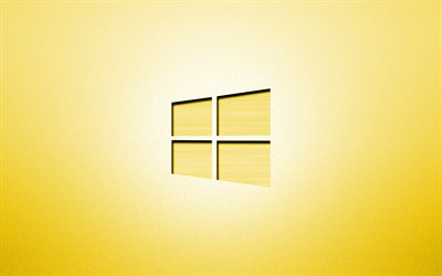 4k, Windows 10 yellow logo, creative, yellow backgrounds, minimalism, operating systems, Windows 10 logo, artwork, Windows 10