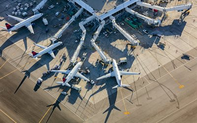 Los Angeles International Airport, aerial view, view from above, Terminal, large airport, passenger aircraft, Los Angeles, California, USA