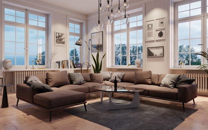 Herunterladen Hintergrundbild Klassisches Interieur Stilvolle Inneneinrichtung Wohnzimmer Grosses Graues Sofa Englischen Stil Grau Wohnzimmer Fur Desktop Kostenlos Hintergrundbilder Fur Ihren Desktop Kostenlos