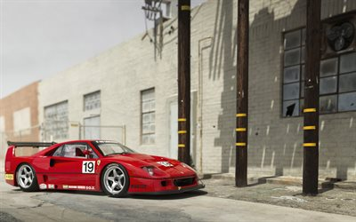 Ferrari F40, red sports car, retro supercars, red F40, sports coupe, Italian sports cars, Ferrari