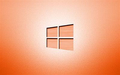 4k, Windows 10 orange logo, creative, orange backgrounds, minimalism, operating systems, Windows 10 logo, artwork, Windows 10