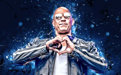Vin Diesel, 2020, american actor, 4k, movie stars, fan art, Mark Sinclair, american celebrity, blue neon lights, creative, Vin Diesel 4K