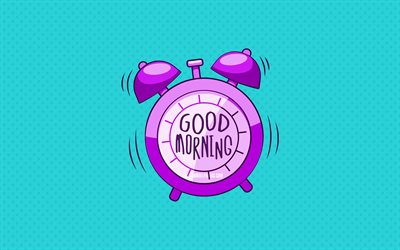 Good Morning, violet alarm clock, 4k, blue dotted backgrounds, creative, good morning concepts, minimalism, good morning with clock