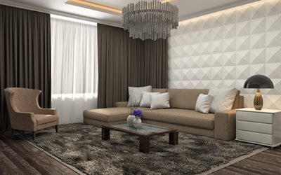 living room project, modern interior design, 3d white panels on the wall, living room, brown colors, dark wood flooring in the living room, stylish interior