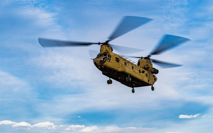 Boeing CH-47 Chinook, blue sky, US Army, transport aircraft, military helicopters, CH-47 Chinook, transport helicopters, US Air Force, Boeing