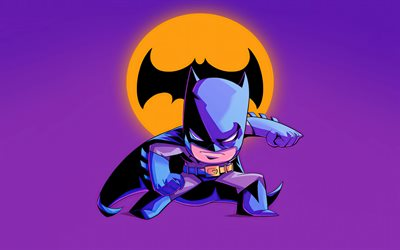 4k, Batman, violet backgrounds, superheroes, minimal, Bat-man, Batman logo, Batman minimalism