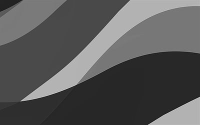 black abstract waves, 4k, minimal, black wavy background, material design, abstract waves, black backgrounds, creative, waves patterns