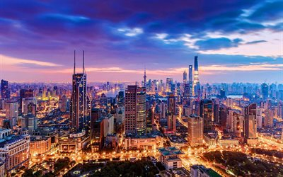 Shanghai, sunset, metropolis, modern buildings, skyscrapers, China, Asia, Shanghai in evening