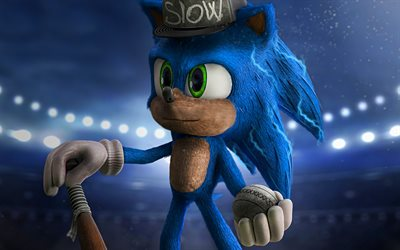 4k, Sonic, baseball, Sonic The Hedgehog, 3D art, 2020 movie, poster, Blue Sonic