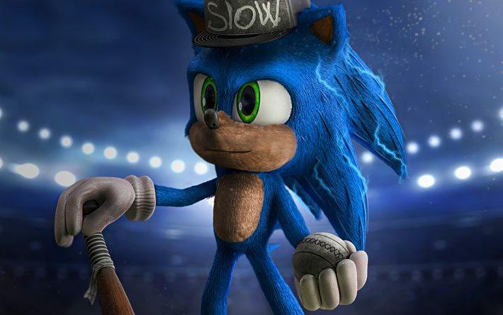 Download Wallpapers 4k Sonic Baseball Sonic The Hedgehog 3d Art 2020 Movie Poster Blue Sonic For Desktop Free Pictures For Desktop Free