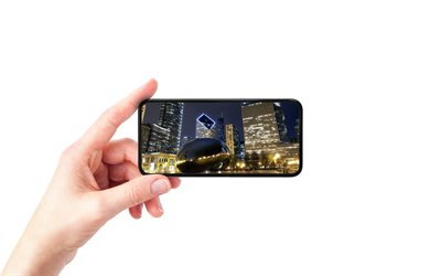 Chicago, Illinois, Millennium Park, smartphone in hand, white background, smartphone, Chicago cityscape, USA
