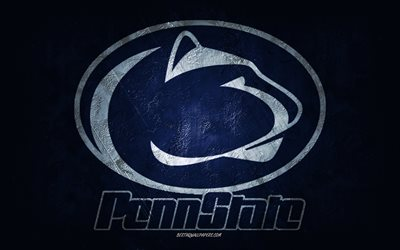 Penn State Nittany Lions, American football team, blue background, Penn State Nittany Lions logo, grunge art, NCAA, American football, USA, Penn State Nittany Lions emblem