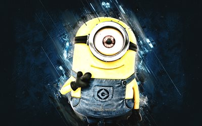 Carl, Despicable Me, minions, Carl the Minion, blue stone background, Despicable Me characters, Carl Minion