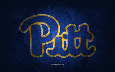 Pittsburgh Panthers, American football team, blue background, Pittsburgh Panthers logo, grunge art, NCAA, American football, USA, Pittsburgh Panthers emblem