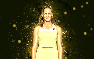 Karolina Pliskova, 4k, czech tennis players, WTA, yellow neon lights, tennis, fan art, Karolina Pliskova 4K