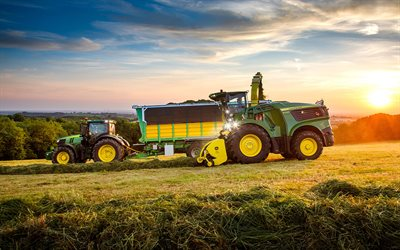 John Deere 9700i, John Deere 6250R, picking grass, 2021 tractors, HDR, agricultural machinery, harvest, green tractor, agriculture, John Deere