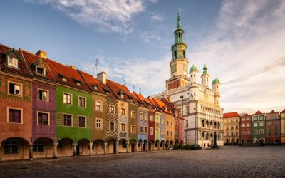 Poznan, Poznan Town Hall, evening, sunset, Old Market Square, town hall, Poland, Poznan cityscape