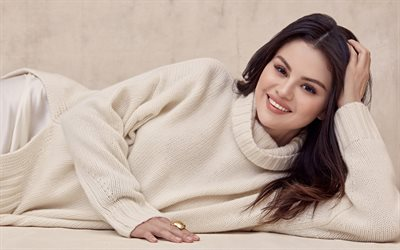 Selena Gomez, American singer, photoshoot, beige sweater, beautiful woman, popular singer, USA