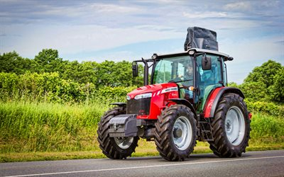 Massey Ferguson 5711 Cab, 4k, road, 2021 tractors, HDR, agricultural machinery, harvest, red tractor, agriculture, Massey Ferguson