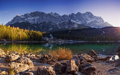 Lake Eibsee, autumn, beautiful nature, mountains, Bavaria, Germany, Alps, Europe, german nature