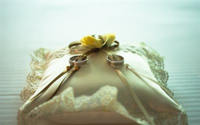 Wedding rings, pillow, yellow roses, wedding