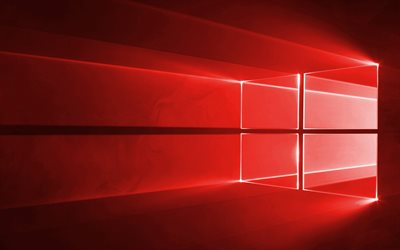 Windows 10, red logo, red background, neon Windows logo, Windows