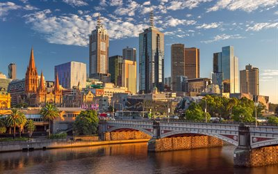 Melbourne, Sunset, skyscrapers, Princes Bridge, Yarra River, Australia