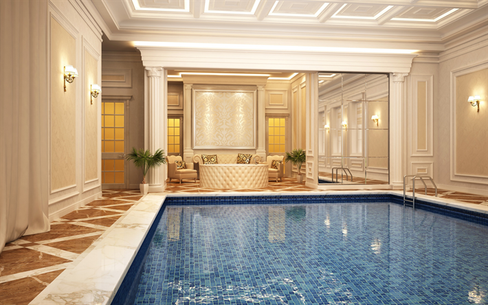 Download Wallpapers Luxury House Swimming Pool Classic Interior Style Design Modern Stylish Interior Design For Desktop Free Pictures For Desktop Free