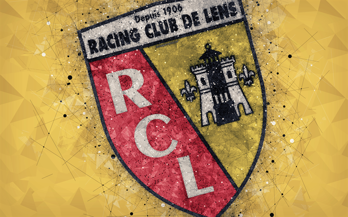 Download Wallpapers Rc Lens 4k Logo Geometric Art French Football Club Yellow Abstract Background Ligue 2 Lens France Football Creative Art Racing Club De Lens For Desktop Free Pictures For Desktop Free
