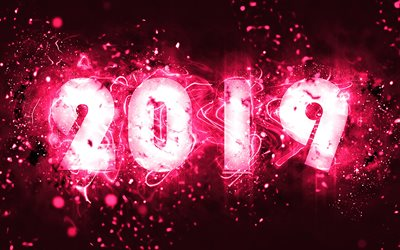 2019 year, neon lights, 4k, abstract art, creative, 2019 concepts, purple background, pink neon, Happy New Year 2019