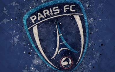 Paris FC, 4k, logo, arte geometrica, francese football club, blu, astratto sfondo, Ligue 2, Parigi, Francia, calcio, arte creativa