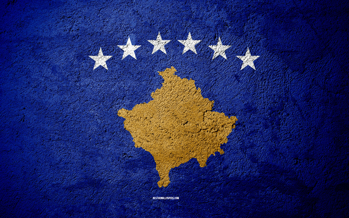 Flag of Kosovo, concrete texture, stone background, Kosovo flag, Europe, Kosovo, flags on stone