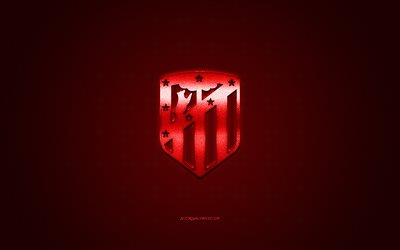 Atletico Madrid, Spanish football club, red metallic logo, red carbon fiber background, Madrid, Spain, La Liga, football