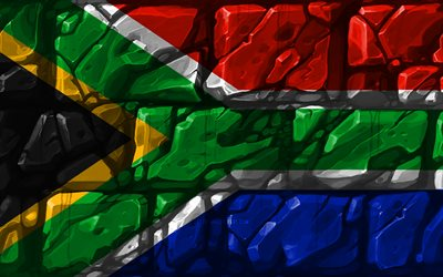South African flag, brickwall, 4k, African countries, national symbols, Flag of South Africa, creative, South Africa, Africa, South Africa 3D flag