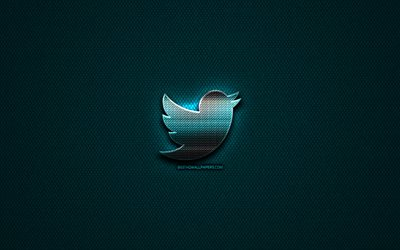 Twitter glitter logo, social networks, creative, blue metal background, Twitter logo, brands, Twitter