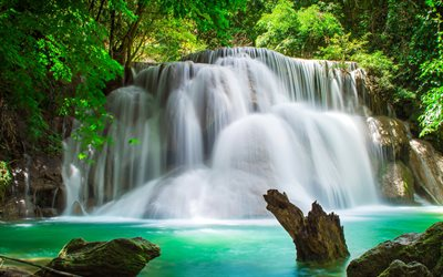 beautiful waterfall, rainforest, beautiful lake, waterfalls, jungle, water concepts, ecology, environment, Thailand