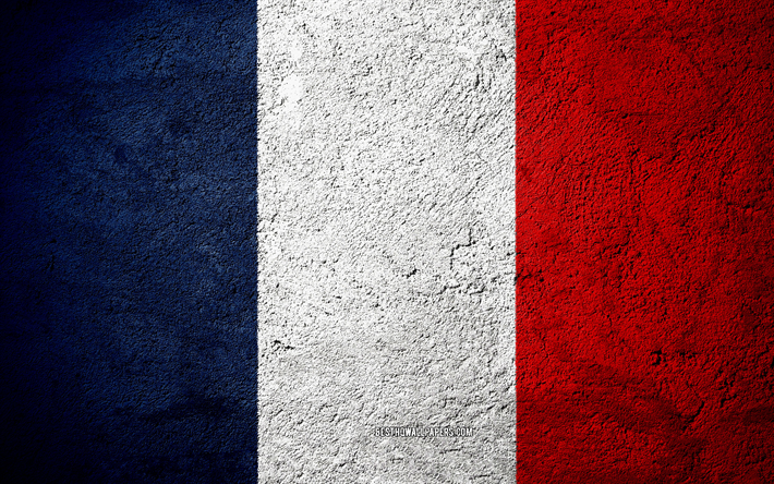 Download Wallpapers Flag Of France Concrete Texture Stone