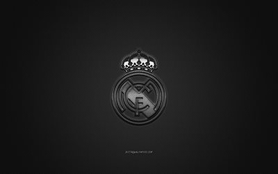 Real Madrid CF, Spanish football club, silver metallic logo, gray carbon fiber background, Madrid, Spain, La Liga, football, Real Madrid