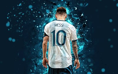 Lionel Messi, back view, Argentina national football team, 2019 Copa America, football stars, abstract art, Leo Messi, soccer, Messi, Argentine National Team